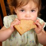 very young girl seated at the dinner table eating a slice of whole wheat bread e1465978289118 | Stay at Home Mum.com.au