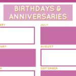 Birthday & Anniversary Planner   Stay At Home Mum