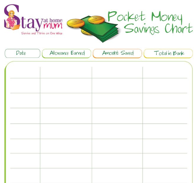 Pocket Money Savings Chart Stay At Home Mum