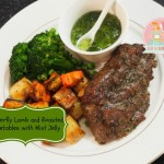 Butterfly Lamb and Baked Vege with Mint Jelly