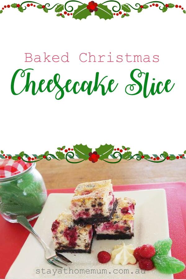 Christmas Cheesecake.Baked Christmas Cheesecake Slice