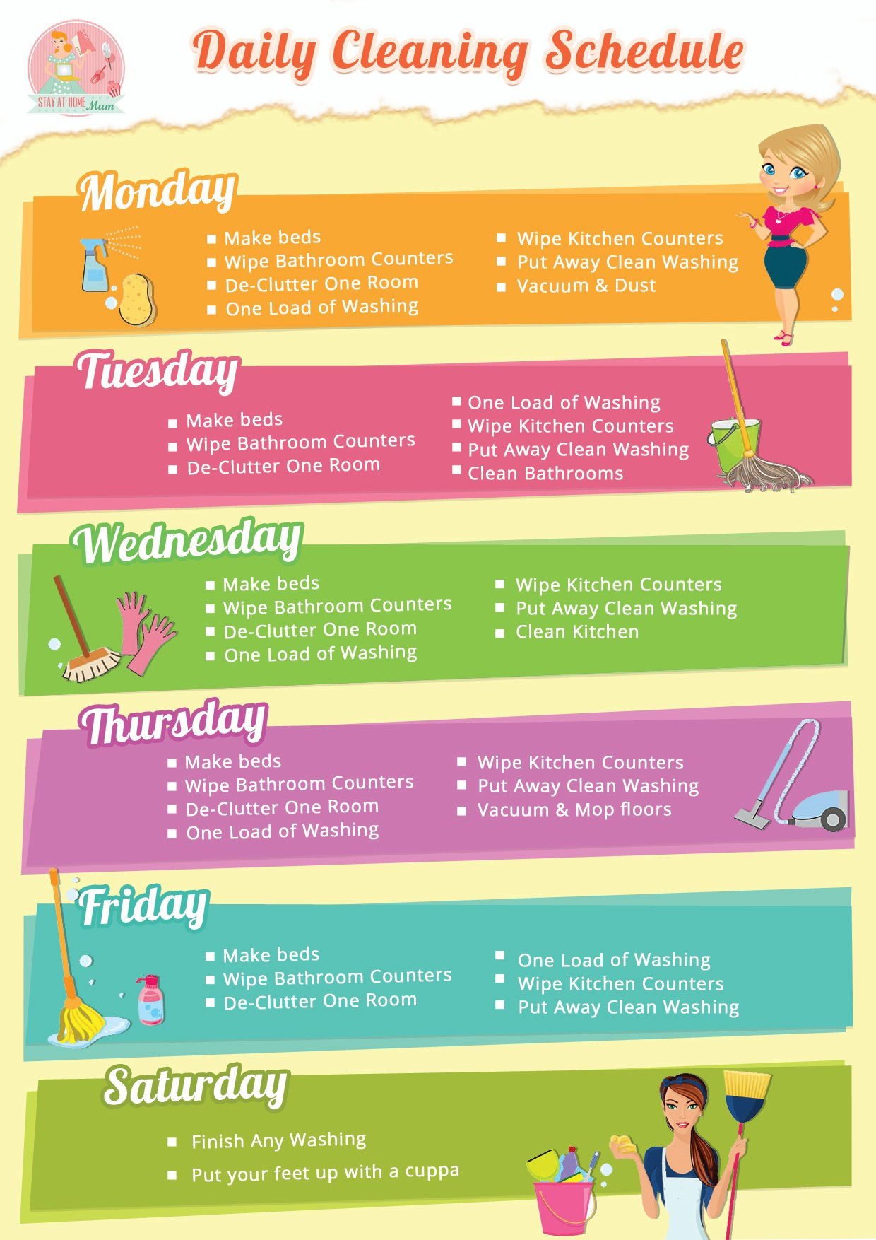 Daily Home Cleaning Schedule | Stay at Home Mum