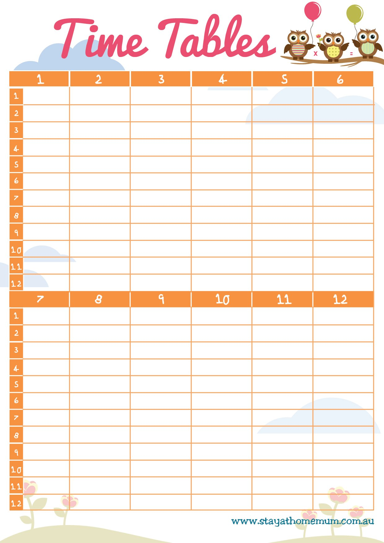 Times Tables Free Printable Stay At Home Mum