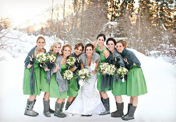 Green themed wedding stay at home mum for Winter wedding colors for bridesmaids dresses