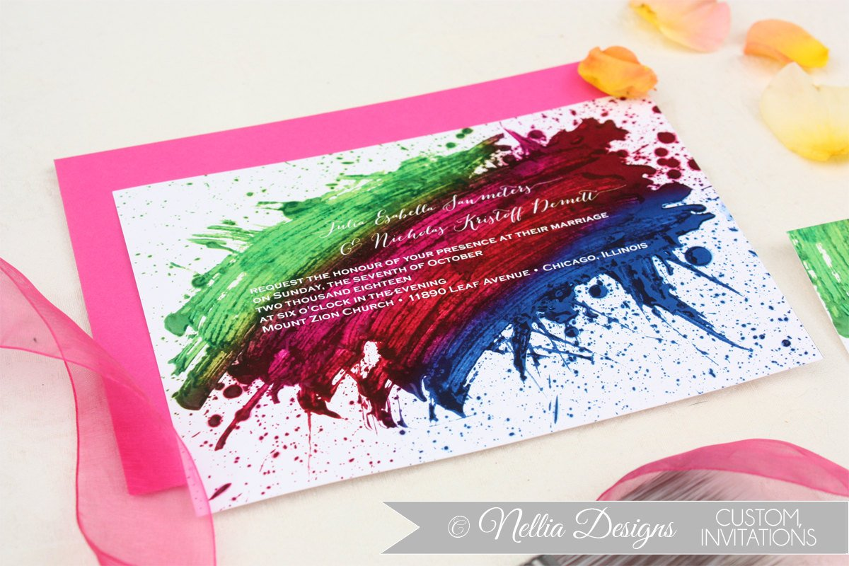 Rainbow Wedding Invites Image collections Wedding And Party