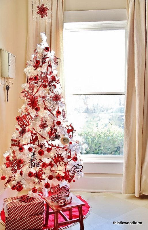 red and white christmas trees stay at home mum