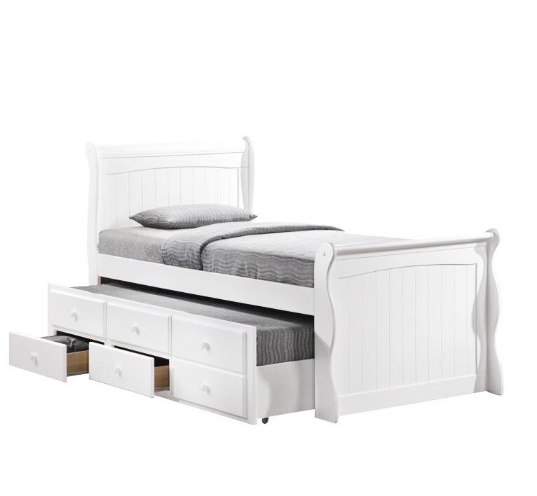 Sleigh New Zealand Pine Timber Captain Bed with Trundle | Stay At Home Mum