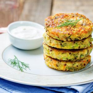 Quinoa Zucchini Dill Fritters With Feta