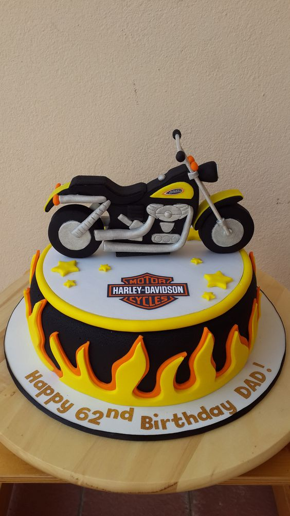 Cake On Fire For A Big Bike Rider