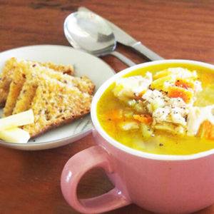 Roasted Chicken and Garlic Soup