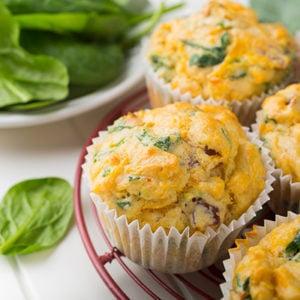 Cheesy Spinach Cauliflower Muffins