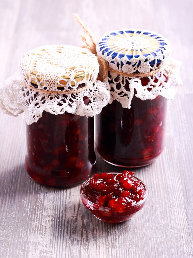 Homemade beetroot and apple chutney in jars