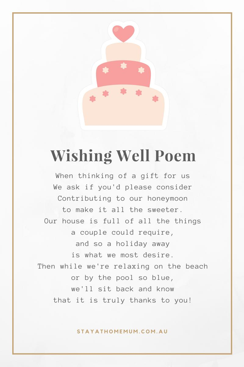 Non-Cheesy Wedding Wishing Well Poems - Stay at Home Mum