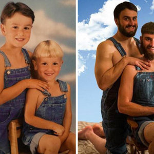 12 Photos of People Hilariously Recreating Their Childhood Photos