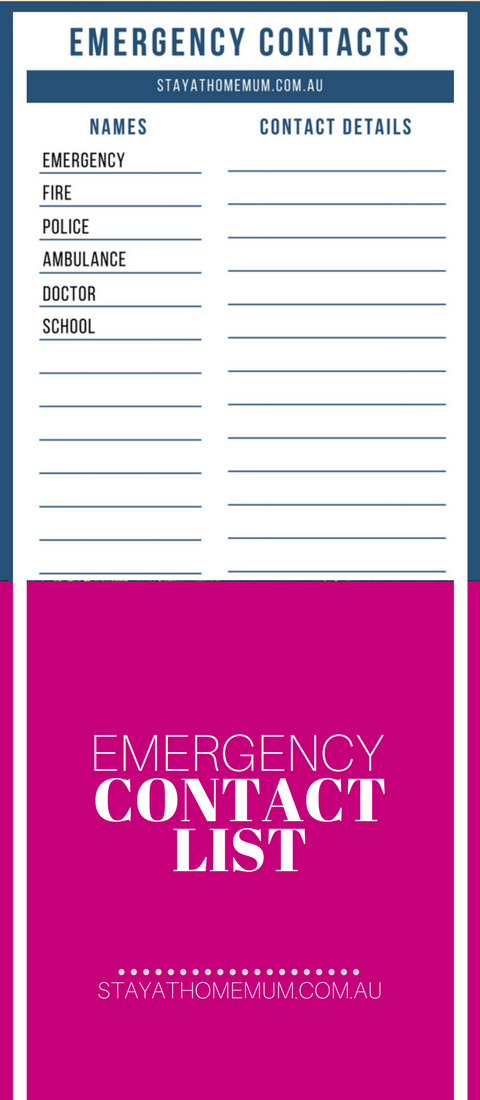 Emergency contact list for Emergency contact form template for child