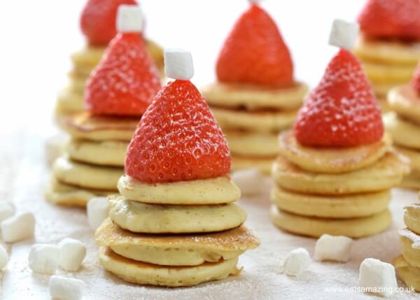 Easy Santa Hat Mini Pancake Stackers a fun and healthy Christmas breakfast recipe for kids from Eats Amazing UK | Stay at Home Mum.com.au