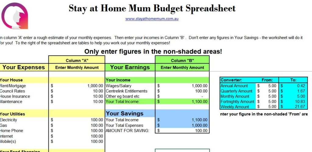 free downloadable budget spreadsheet stay at home mum