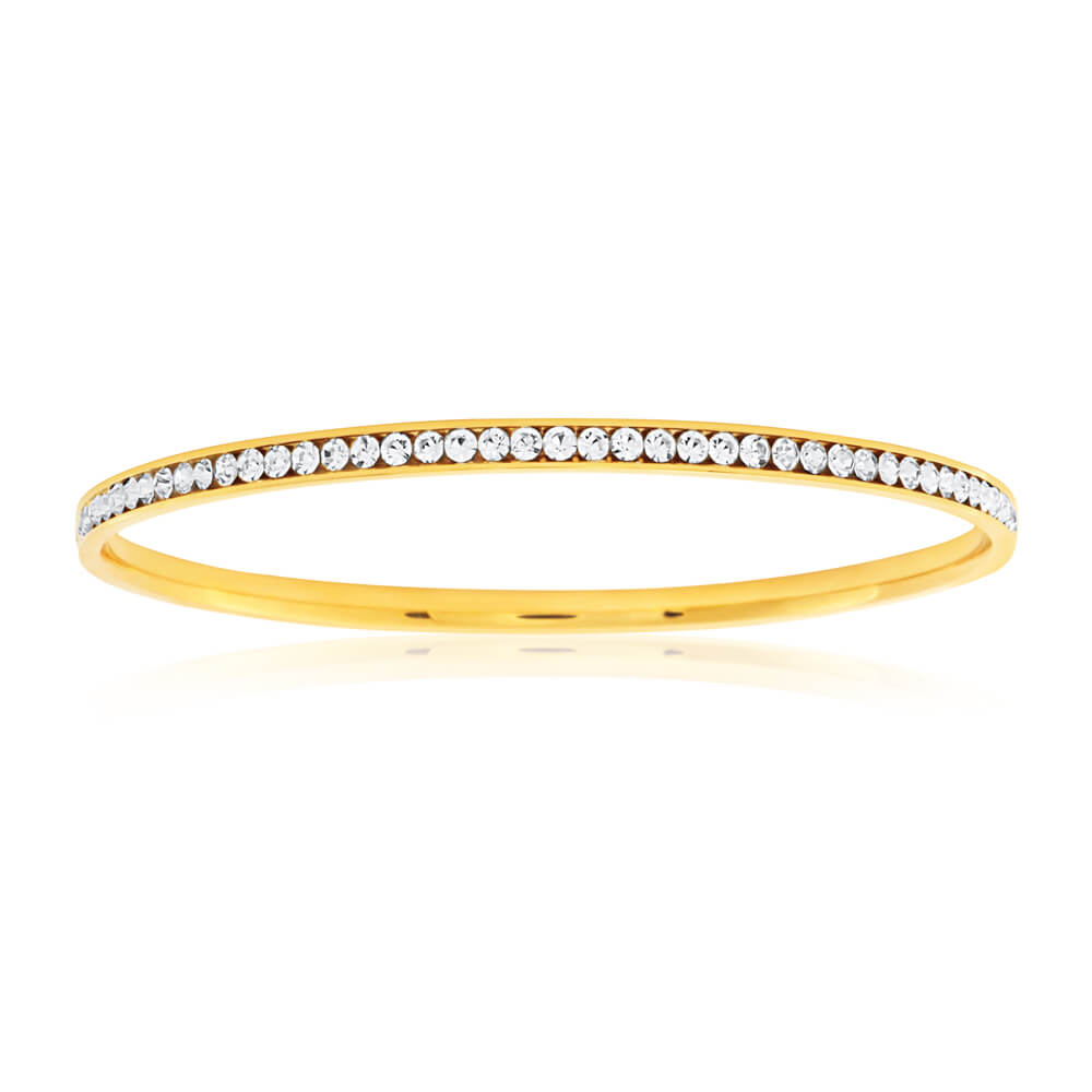 Stainless Steel Gold Plated Crystal Bangle | Stay At Home Mum