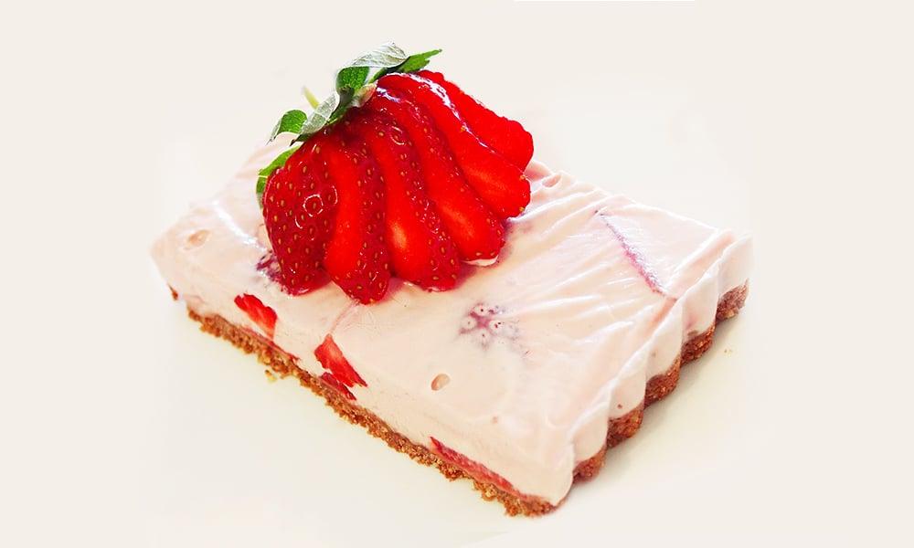 Frozen Strawberry Cheesecake Slice