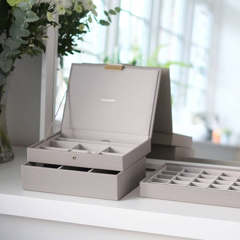Stacker Leather Jewellery Box Stackable Tray Taupe | Stay At Home Mum