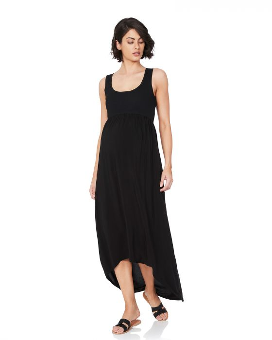 sia maxi tank dress soon maternity black 1 | Stay at Home Mum.com.au